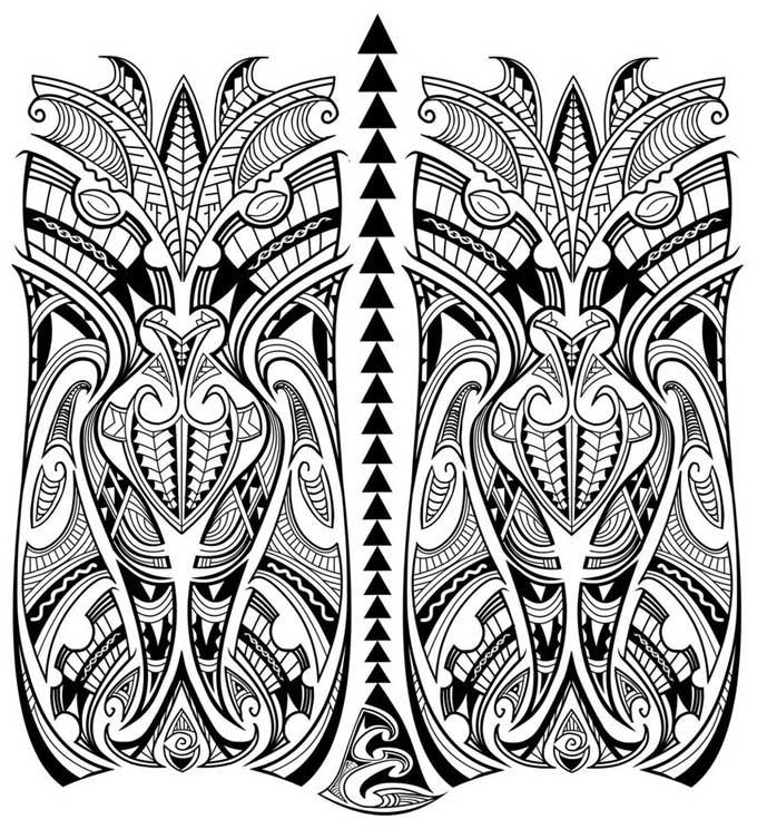 Desenho de Tatuagem Maori assimétrica.