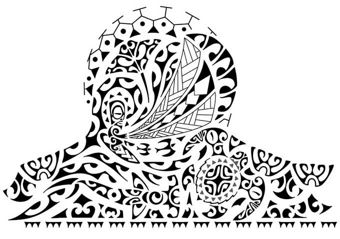 Desenho de Tatuagem Maori para ombro e braço.